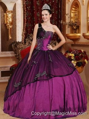 Purple Ball Gown One Shoulder Taffeta and Organza Beading and Appliques Quinceanera Dress