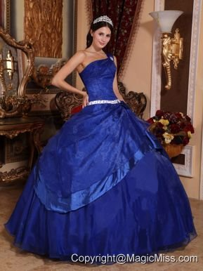 Royal Blue Ball Gown One Shoulder Floor-length Organza Beading Quinceanera Dress