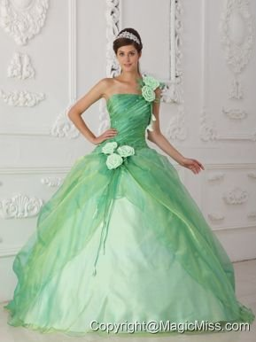 Apple Green Ball Gown One Shoulder Floor-length Organza Beading and Hand Flower Quinceanera Dress