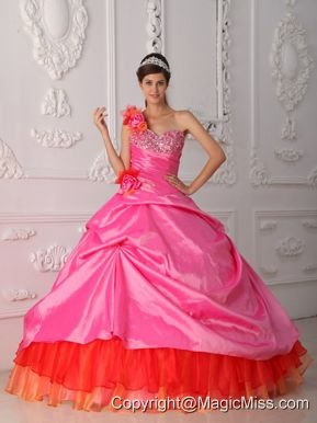 Rose Pink Ball Gown One Shoulder Floor-length Organza and Taffeta Beading and Hand Flower Quinceanera Dress