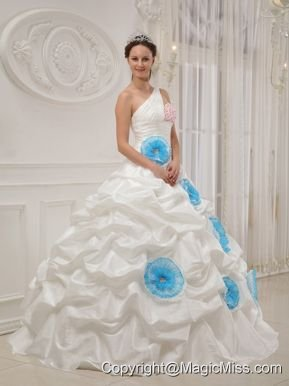 White Ball Gown One Shoulder Floor-length Taffeta Beading and Hand Flowers Quinceanera Dress