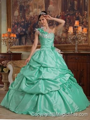 Apple Green Ball Gown One Shoulder Floor-length Hand Flowers Taffeta Quinceanera Dress
