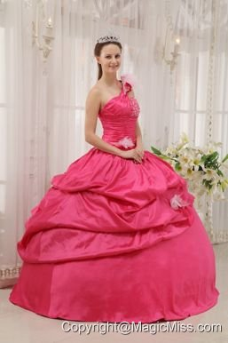 Fuchsia Ball Gown One Shoulder Floor-length Taffeta Beading Pick-ups Quinceanera Dress