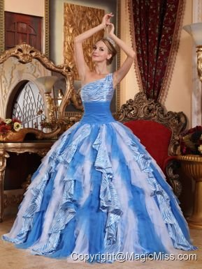 Multi-color Ball Gown One Shoulder Floor-length Ruffles Quinceanera Dress