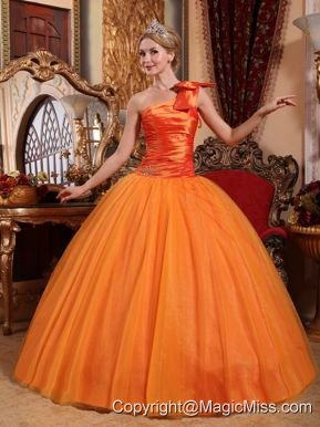 Orange Ball Gown One Shoulder Floor-length Tulle Beading Quinceanera Dress