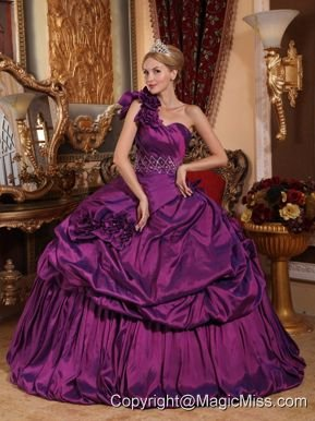Purple Ball Gown One Shoulder Floor-length Taffeta Beading Quinceanera Dress
