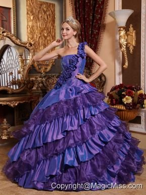 Purple Ball Gown One Shoulder Floor-length Taffeta and Organza Hand Made Flowers Quinceanera Dress