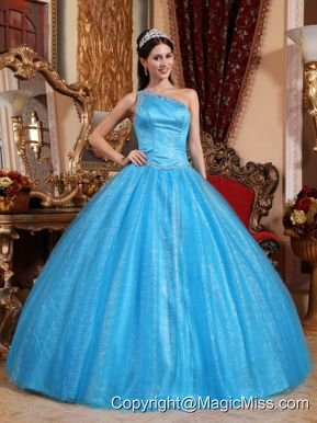 Teal Ball Gown One Shoulder Floor-length Tulle and Taffeta Beading Quinceanera Dress