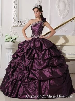 Dark Purple Ball Gown One Shoulder Floor-length Taffeta Appliques and Pick-ups Quinceanera Dress