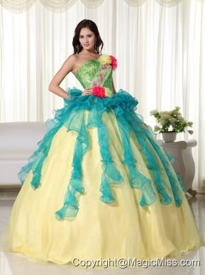 Teal and Yellow Ball Gown Strapless Floor-length Organza Beading Quinceanera Dress