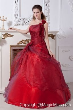 Wine Red A-line Beading One Shoulder Taffeta and Organza Floor-length Quinceanera Dresses