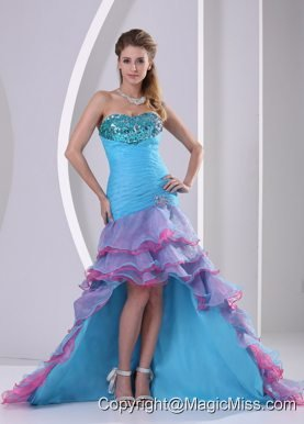 Multi-color High-low Mermaid Beading and Ruch Organza Prom Dress In Summer