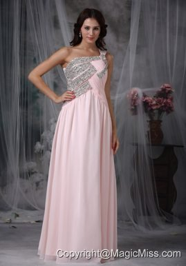 Baby Pink Empire One Shoulder Floor-length Chiffon Beading Prom Dress