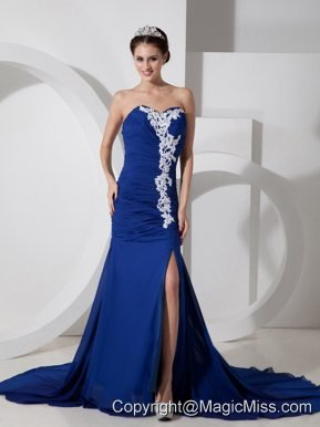 Blue Column Sweetheart Brush Train Chiffon Appliques and Ruch Prom Dress