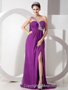 Purple Empire One Shoulder Brush Train Chiffon Beading and Ruch Prom Dress