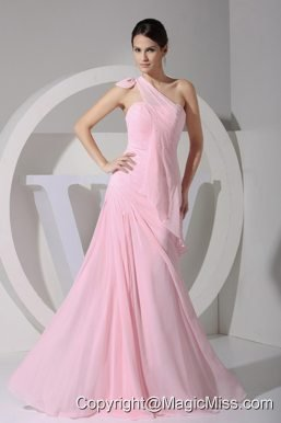 One Shoulder Pink Chiffon Floor-length 2013 Prom Dress