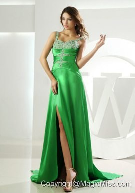 Beading Straps Prom Dress Watteau Elastic Woven Satin Column Spring Green