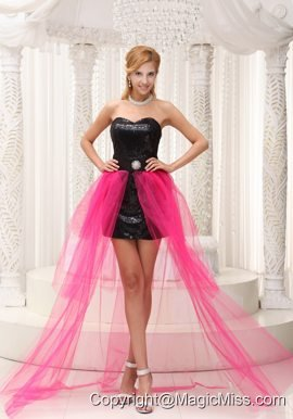 Hot Pink High-low Prom Dress For 2013 Black Paillette Over Skirt With Beading