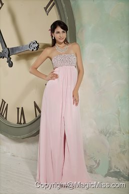 Pink Empire Strapless Floor-length Chiffon Beading Prom Dress