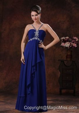 Deaded Decorate Royal Blue V-neck Prom Dress In Grand Canyon Arizona