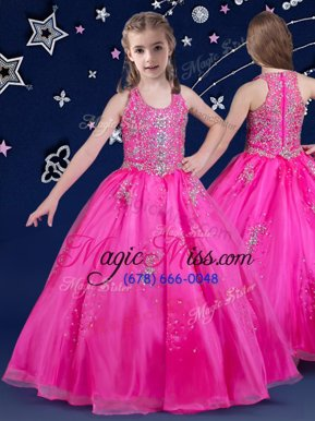 Hot Selling Fuchsia Scoop Zipper Beading Child Pageant Dress Sleeveless