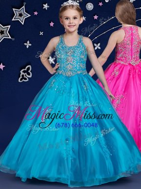 Hot Selling Blue Ball Gowns Organza Scoop Sleeveless Beading Floor Length Zipper Pageant Gowns For Girls