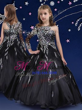 Customized Black Zipper Little Girl Pageant Gowns Beading and Ruffles Sleeveless Floor Length