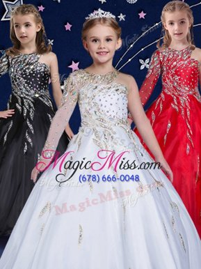Pretty Floor Length Zipper Kids Formal Wear White and In for Quinceanera and Wedding Party with Beading and Ruffles