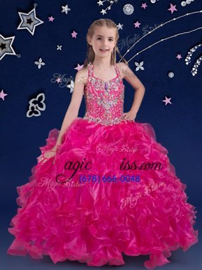 Low Price Halter Top Fuchsia Organza Lace Up Little Girls Pageant Dress Wholesale Sleeveless Floor Length Beading and Ruffles