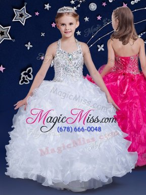 Admirable Halter Top White Ball Gowns Beading and Ruffles Little Girl Pageant Gowns Lace Up Organza Sleeveless Floor Length