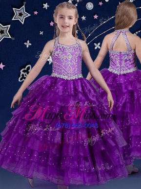 Most Popular Halter Top Eggplant Purple Sleeveless Beading and Ruffled Layers Floor Length Little Girls Pageant Dress Wholesale