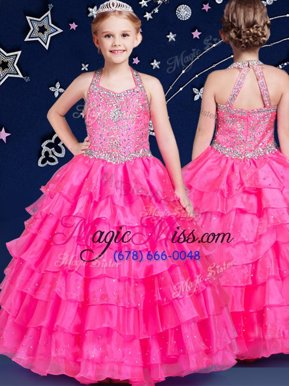 Elegant Halter Top Sleeveless Little Girl Pageant Gowns Floor Length Beading and Ruffled Layers Hot Pink Organza
