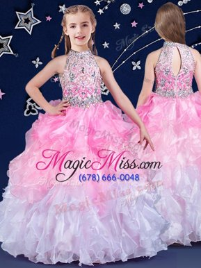 Affordable White and Pink And White Zipper Halter Top Beading and Ruffles Little Girl Pageant Dress Organza Sleeveless