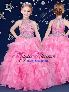 Classical Halter Top Rose Pink Sleeveless Organza Zipper Girls Pageant Dresses for Quinceanera and Wedding Party