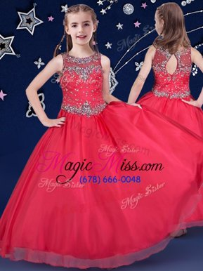 Super Scoop Red Zipper Pageant Gowns For Girls Beading Sleeveless Floor Length