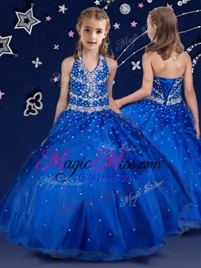 Modern Halter Top Royal Blue Organza Lace Up Little Girls Pageant Gowns Sleeveless Floor Length Beading