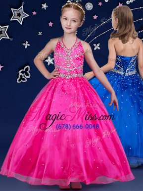 Graceful Halter Top Organza Sleeveless Floor Length Pageant Gowns For Girls and Beading