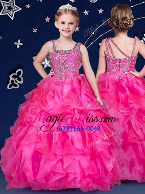 Attractive Hot Pink Sleeveless Organza Zipper Little Girl Pageant Dress for Quinceanera and Wedding Party