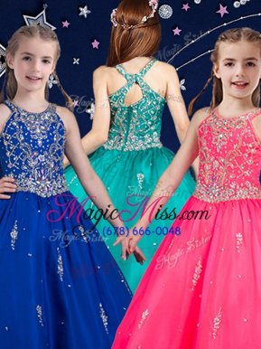 On Sale Hot Pink and Royal Blue Scoop Neckline Beading Child Pageant Dress Sleeveless Zipper