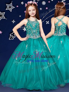 Latest Teal Kids Formal Wear Quinceanera and Wedding Party and For with Beading Scoop Sleeveless Zipper