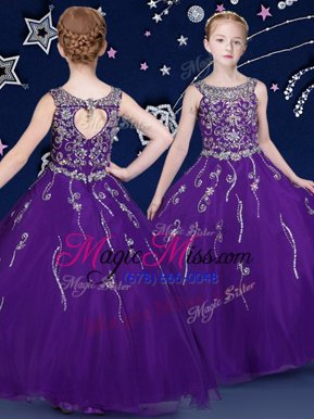 Affordable Purple Lace Up Scoop Beading Little Girl Pageant Gowns Organza Sleeveless