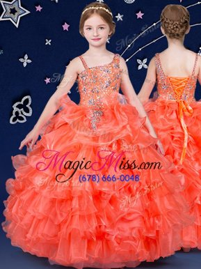 Lovely Orange Kids Formal Wear Quinceanera and Wedding Party and For with Beading and Ruffled Layers Asymmetric Sleeveless Lace Up