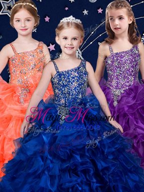 Dramatic Royal Blue and Purple and Orange Child Pageant Dress Quinceanera and Wedding Party and For with Beading and Ruffles Asymmetric Sleeveless Lace Up