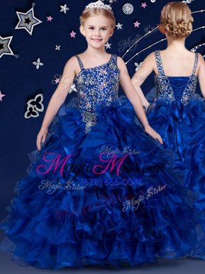 Royal Blue Lace Up Little Girls Pageant Dress Wholesale Beading and Ruffled Layers Sleeveless Floor Length
