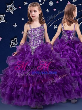 Enchanting Organza Sleeveless Floor Length Little Girl Pageant Dress and Beading and Ruffled Layers