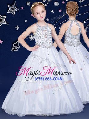 Customized Halter Top Floor Length White Little Girl Pageant Dress Organza Sleeveless Beading