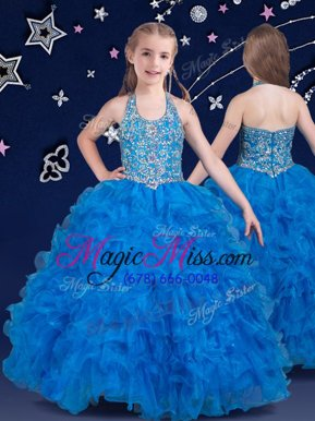 Inexpensive Baby Blue Halter Top Neckline Beading and Ruffles Pageant Gowns For Girls Sleeveless Zipper
