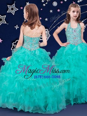 Popular Halter Top Sleeveless Floor Length Beading and Ruffles Zipper Little Girls Pageant Dress Wholesale with Turquoise
