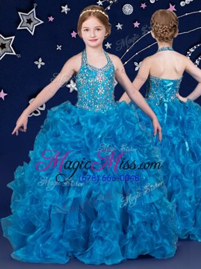 Affordable Halter Top Sleeveless Organza Kids Pageant Dress Beading and Ruffles Lace Up