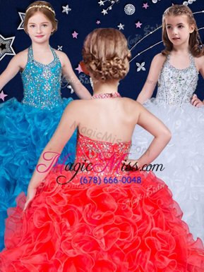 Best White and Coral Red and Blue Organza Lace Up Halter Top Sleeveless Floor Length Kids Formal Wear Beading and Ruffles